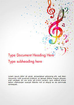 Falling Colorful Music Notes Word Template Cover Page