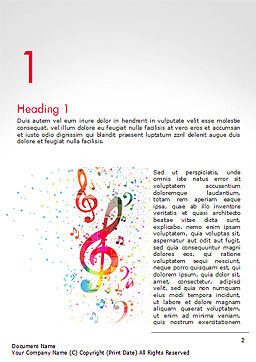 Falling Colorful Music Notes Word Template First Inner Page