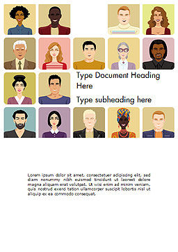 Avatars in Cartoon Style Word Template, Cover Page, 14427, People — PoweredTemplate.com
