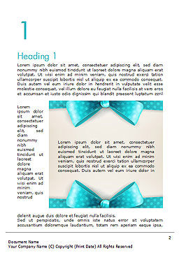 Blue Ribbons and Bows Frame Word Template, First Inner Page, 14428, Holiday/Special Occasion — PoweredTemplate.com