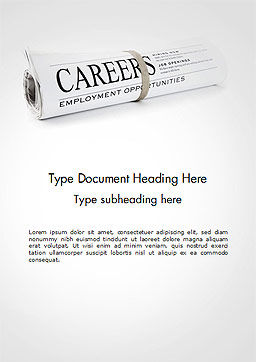 Rolled Newspaper with Headline Careers Word Template, Cover Page, 14431, Careers/Industry — PoweredTemplate.com