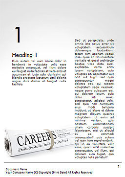 Rolled Newspaper with Headline Careers Word Template First Inner Page