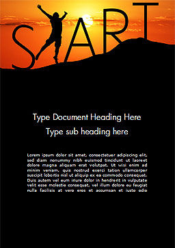 Start Concept on Sunset Silhouette Word Template, Cover Page, 14434, Careers/Industry — PoweredTemplate.com