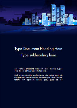 Night City Light Word Template, Cover Page, 14438, Construction — PoweredTemplate.com