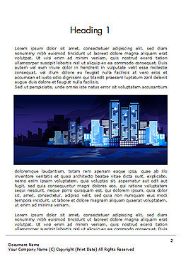 Night City Light Word Template, First Inner Page, 14438, Construction — PoweredTemplate.com