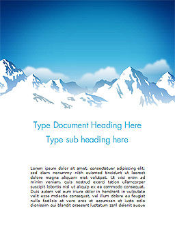 Snowy Mountains Word Template, Cover Page, 14444, Nature & Environment — PoweredTemplate.com