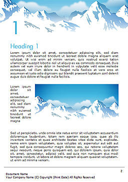 Snowy Mountains Word Template, First Inner Page, 14444, Nature & Environment — PoweredTemplate.com