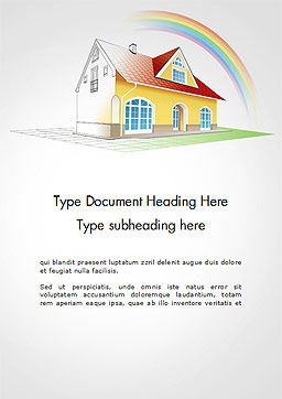 House From Sketch to Colorful Reality Word Template, Cover Page, 14455, Construction — PoweredTemplate.com