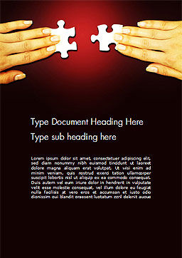 Woman Hands with Puzzle Pieces Word Template, Cover Page, 14456, Business Concepts — PoweredTemplate.com
