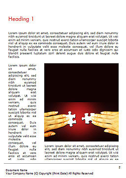Woman Hands with Puzzle Pieces Word Template, First Inner Page, 14456, Business Concepts — PoweredTemplate.com