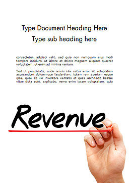 Hand Writing Revenue with Marker Word Template Cover Page