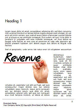 Hand Writing Revenue with Marker Word Template First Inner Page
