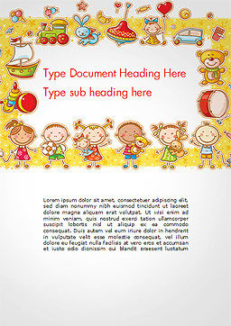 Frame with Cartoon Children Toys and Candy Word Template, Cover Page, 14470, Education & Training — PoweredTemplate.com