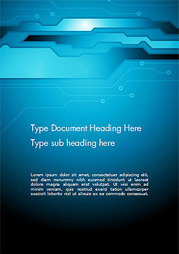 Abstract Technology Circuit Board Word Template, Cover Page, 14480, Technology, Science & Computers — PoweredTemplate.com