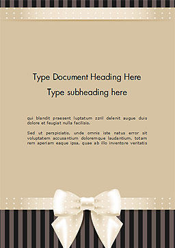 Ornate Beige Ribbon and Elegant Bow Word Template, Cover Page, 14484, Holiday/Special Occasion — PoweredTemplate.com