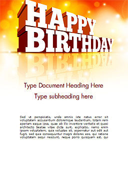 3D Happy Birthday Text Word Template, Cover Page, 14500, Holiday/Special Occasion — PoweredTemplate.com