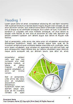Compass and Road Map Word Template, First Inner Page, 14505, Business Concepts — PoweredTemplate.com