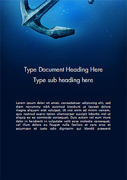 Anchor Under Blue Ocean Word Template Cover Page