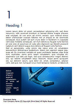Anchor Under Blue Ocean Word Template First Inner Page