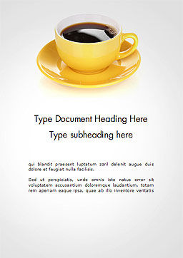 Yellow Cup and Saucer Word Template Cover Page