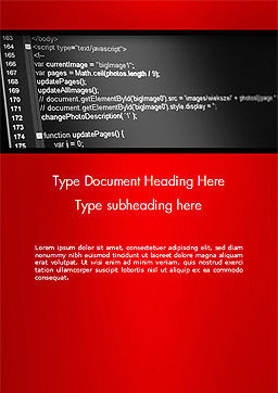 Javascript Code Lines Word Template Cover Page