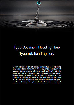Water Splash in Dark Word Template Cover Page