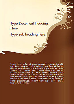 Coffee Splash and Beans Word Template Cover Page