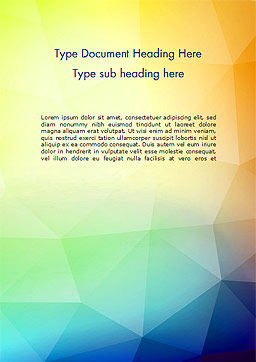 Polygonal Abstract Background with Rainbow Triangles Word Template Cover Page