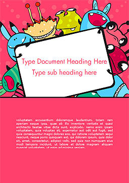 Pink Monster Frame Word Template Cover Page