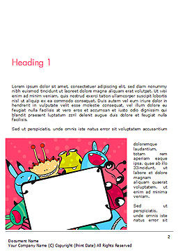 Pink Monster Frame Word Template First Inner Page