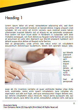 Woman Working with Text Word Template First Inner Page