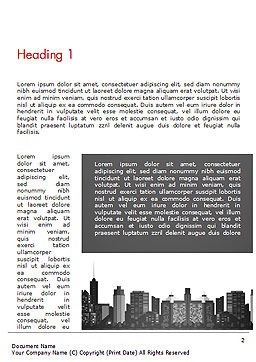 Modern City Silhouette Word Template, First Inner Page, 14529, Construction — PoweredTemplate.com