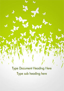 Green Spring Background Word Template Cover Page