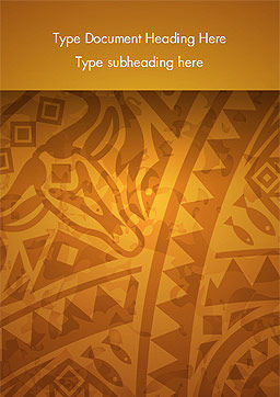 Brown Ethnic Ornament Word Template, Cover Page, 14540, Art & Entertainment — PoweredTemplate.com