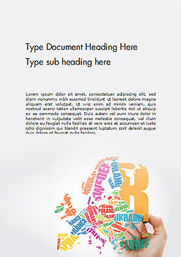 Europe Map in Typography Word Cloud Concept Word Template Cover Page