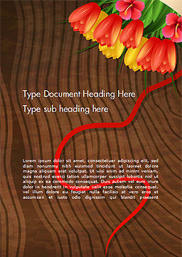 Bunch Of Flowers On Wooden Surface Word Template, Cover Page, 14546, Holiday/Special Occasion — PoweredTemplate.com