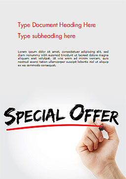 A Hand Writing 'Special Offer' with Marker Word Template Cover Page