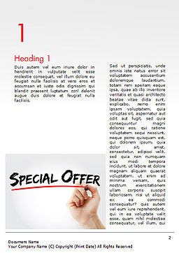 A Hand Writing 'Special Offer' with Marker Word Template First Inner Page