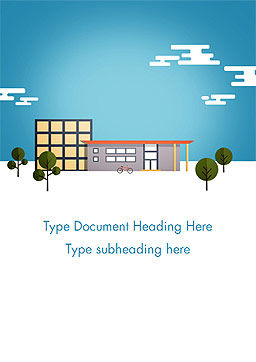 Street with Houses Illustration in Flat Style Word Template Cover Page