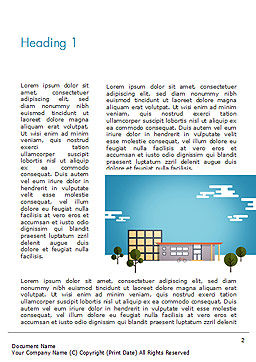 Street with Houses Illustration in Flat Style Word Template First Inner Page