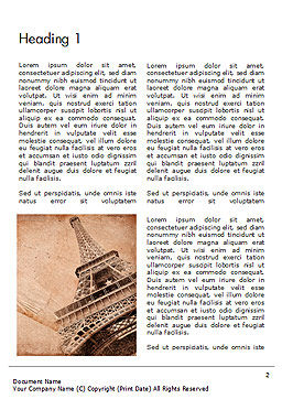 Eiffel Tower Vintage Postcard Style Word Template First Inner Page