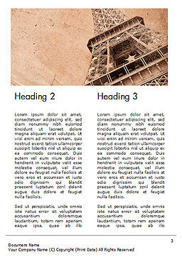 Eiffel Tower Vintage Postcard Style Word Template Second Inner Page