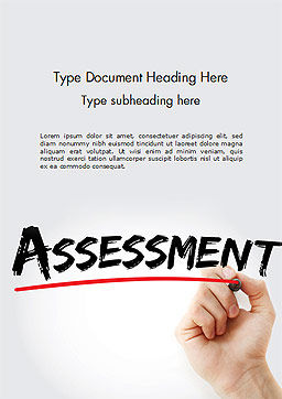 A Hand Writing 'Assessment' with Marker Word Template, Cover Page, 14569, Business Concepts — PoweredTemplate.com
