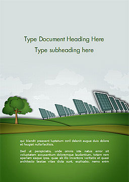 Solar Panels Batteries on Clean Field Word Template Cover Page