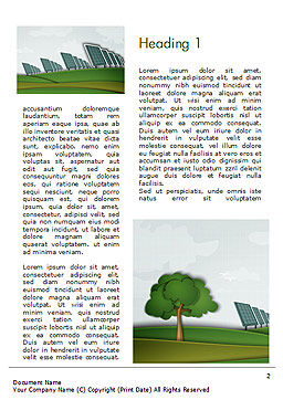 Solar Panels Batteries on Clean Field Word Template, First Inner Page, 14585, Technology, Science & Computers — PoweredTemplate.com