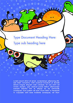 Cute Monsters Word Template, Cover Page, 14599, Education & Training — PoweredTemplate.com