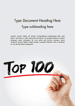A Hand Writing 'Top 100' with Marker Word Template Cover Page
