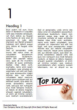 A Hand Writing 'Top 100' with Marker Word Template First Inner Page