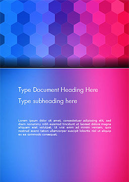 Gradient Background with Hexagon Pattern Word Template Cover Page