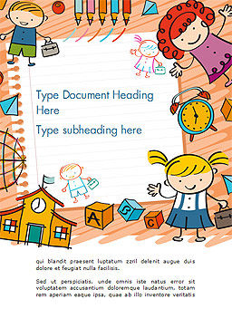 Kids and Toys Drawing Style Background Word Template Cover Page